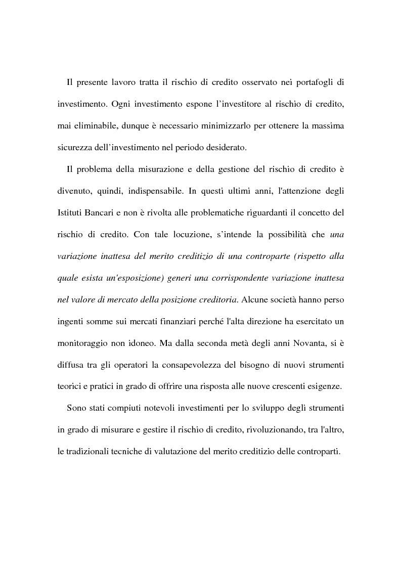 Anteprima della tesi: Rischio di credito nei portafogli di investimento: la metodologia CreditMetrics, Pagina 2