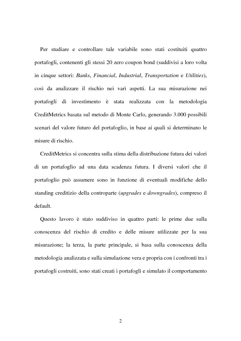 Anteprima della tesi: Rischio di credito nei portafogli di investimento: la metodologia CreditMetrics, Pagina 3