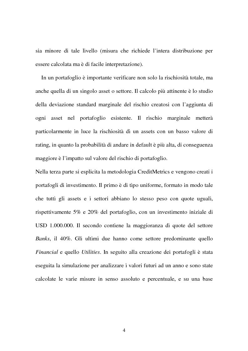 Anteprima della tesi: Rischio di credito nei portafogli di investimento: la metodologia CreditMetrics, Pagina 5