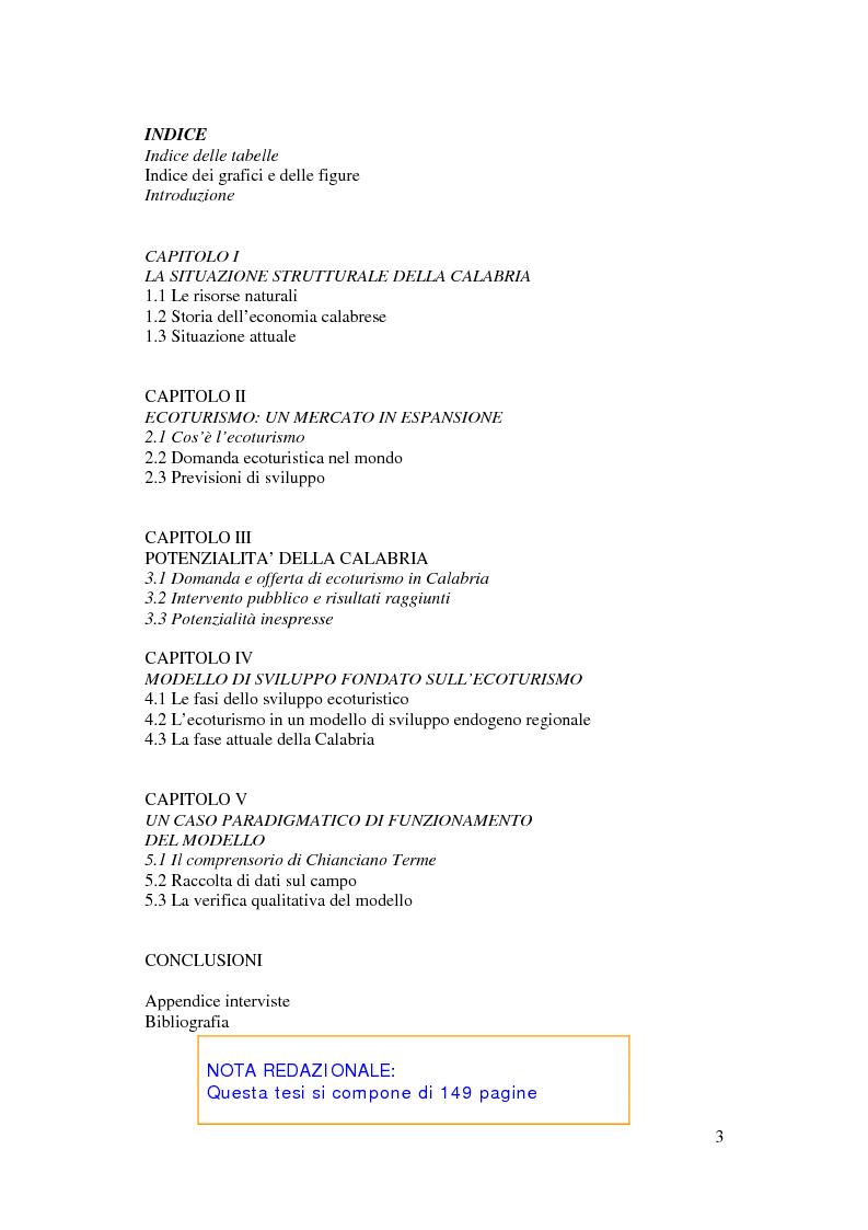Indice della tesi: Per un modello di sviluppo della Calabria fondato sull'ecoturismo, Pagina 1