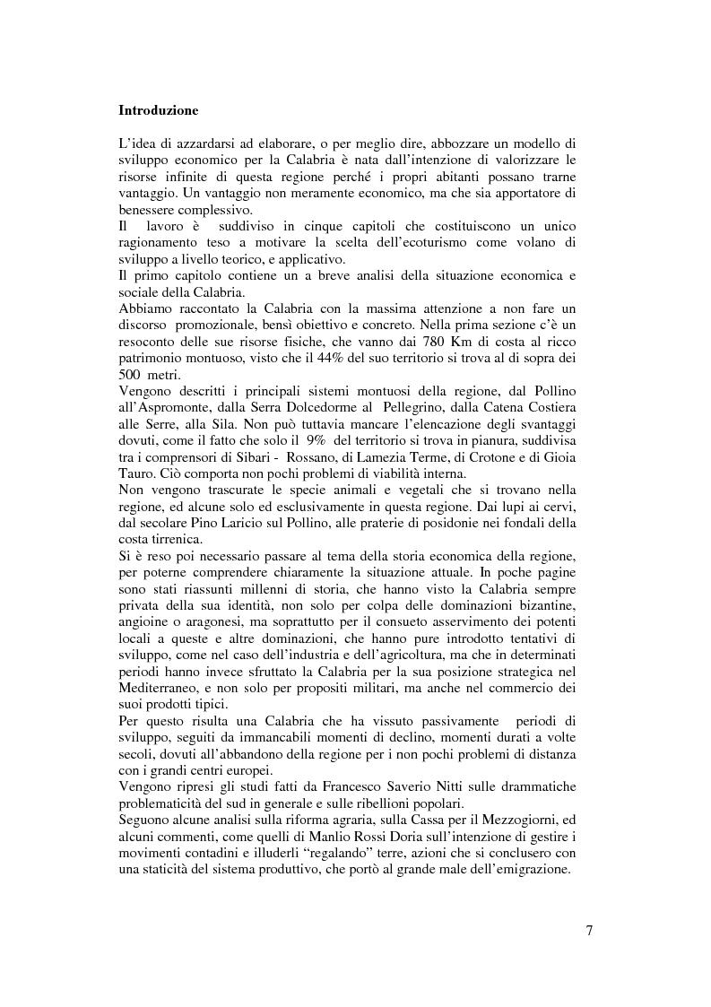 Anteprima della tesi: Per un modello di sviluppo della Calabria fondato sull'ecoturismo, Pagina 1