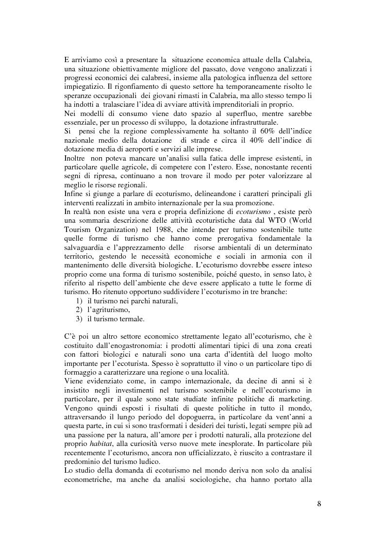Anteprima della tesi: Per un modello di sviluppo della Calabria fondato sull'ecoturismo, Pagina 2