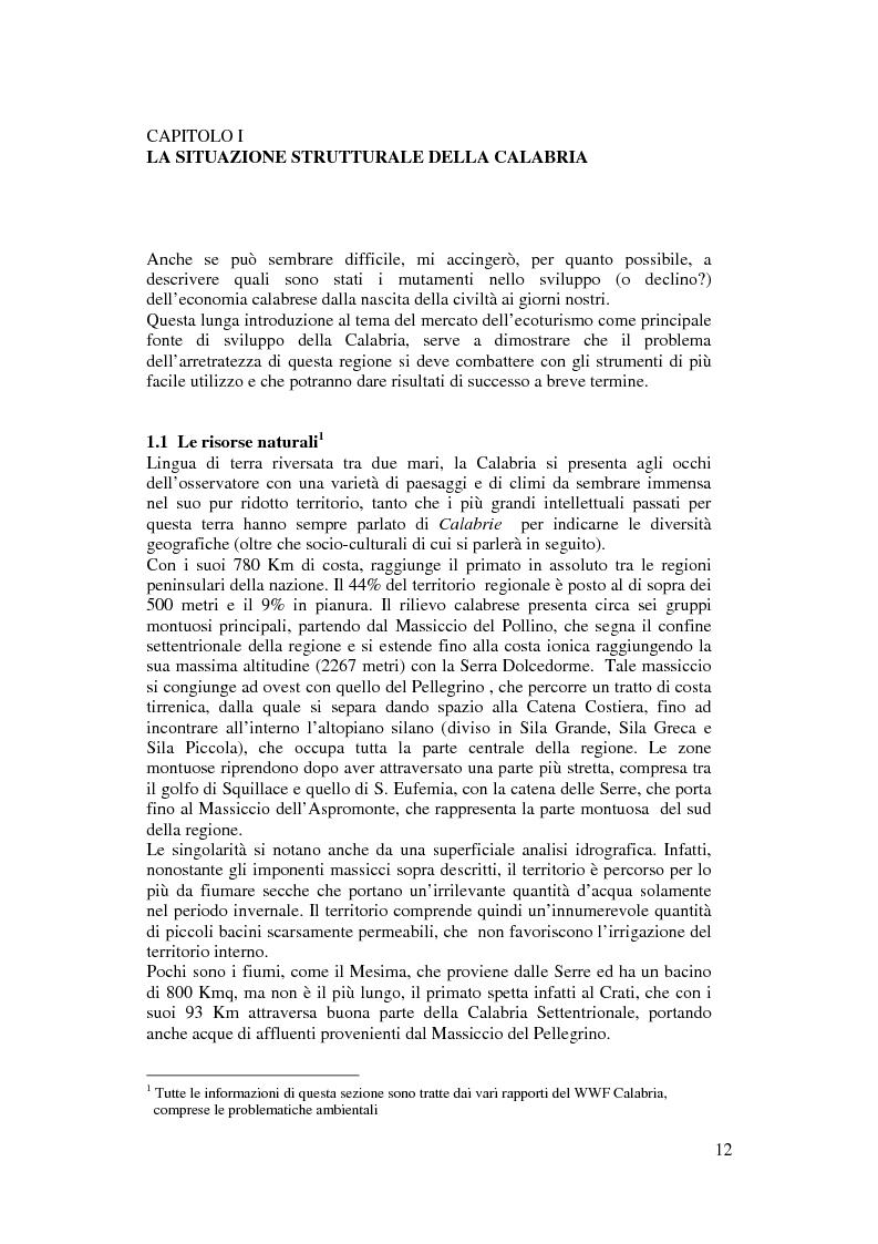 Anteprima della tesi: Per un modello di sviluppo della Calabria fondato sull'ecoturismo, Pagina 6