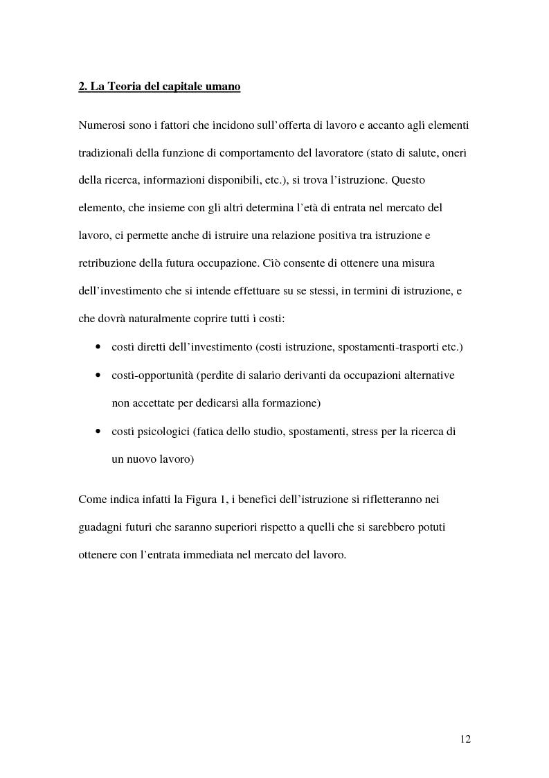 Anteprima della tesi: La teoria economica dei differenziali salariali - Un'applicazione al settore del calcio italiano, Pagina 6