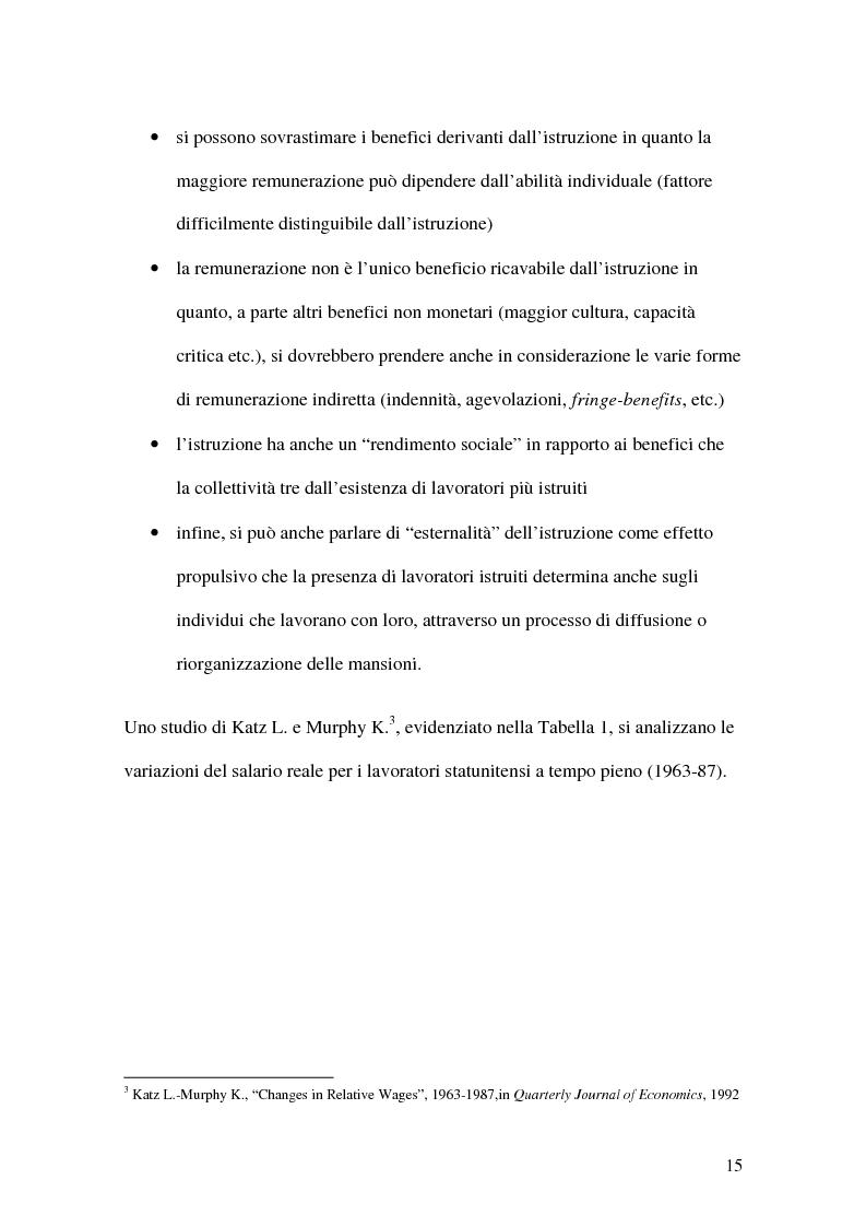 Anteprima della tesi: La teoria economica dei differenziali salariali - Un'applicazione al settore del calcio italiano, Pagina 9