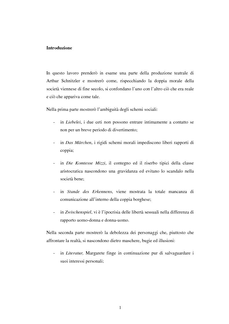Anteprima della tesi: Schein e Sein: il confine tra finzione e realtà nelle commedie di Arthur Schnitzler, Pagina 1