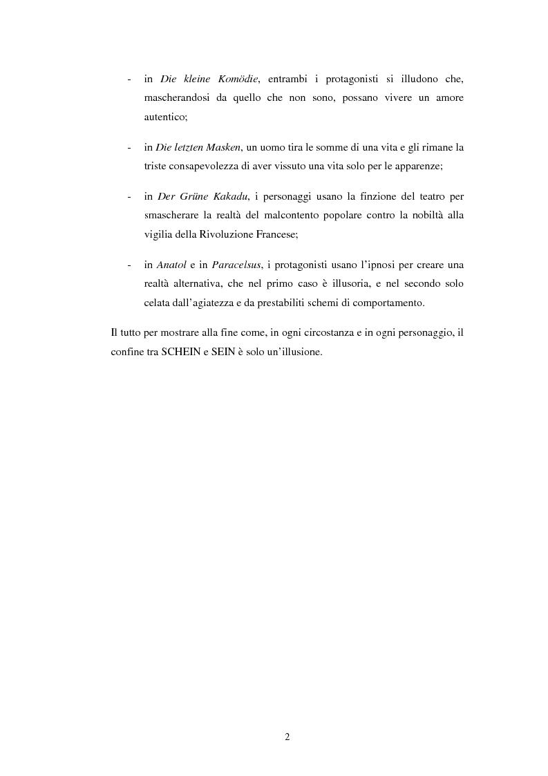 Anteprima della tesi: Schein e Sein: il confine tra finzione e realtà nelle commedie di Arthur Schnitzler, Pagina 2
