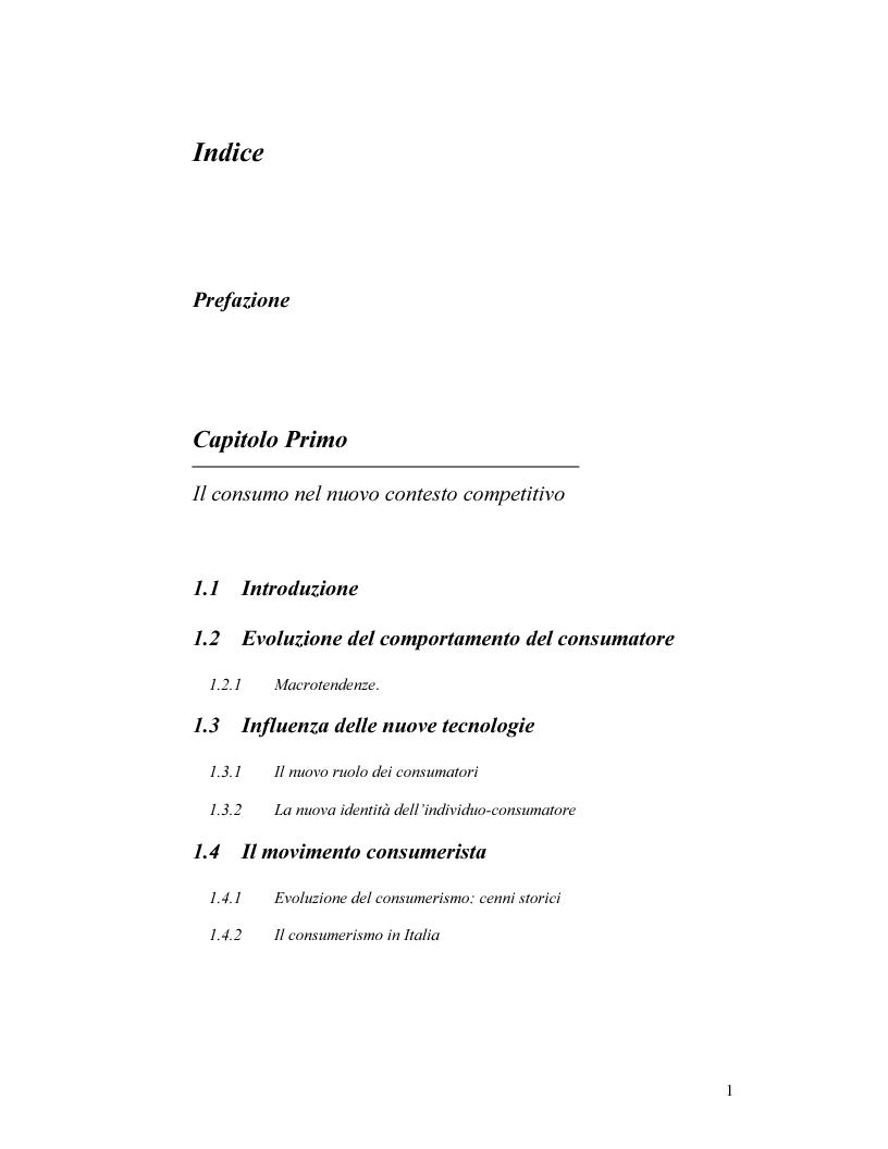 Indice della tesi: I nuovi rapporti tra impresa e consumatore: il caso Procter & Gamble, Pagina 1