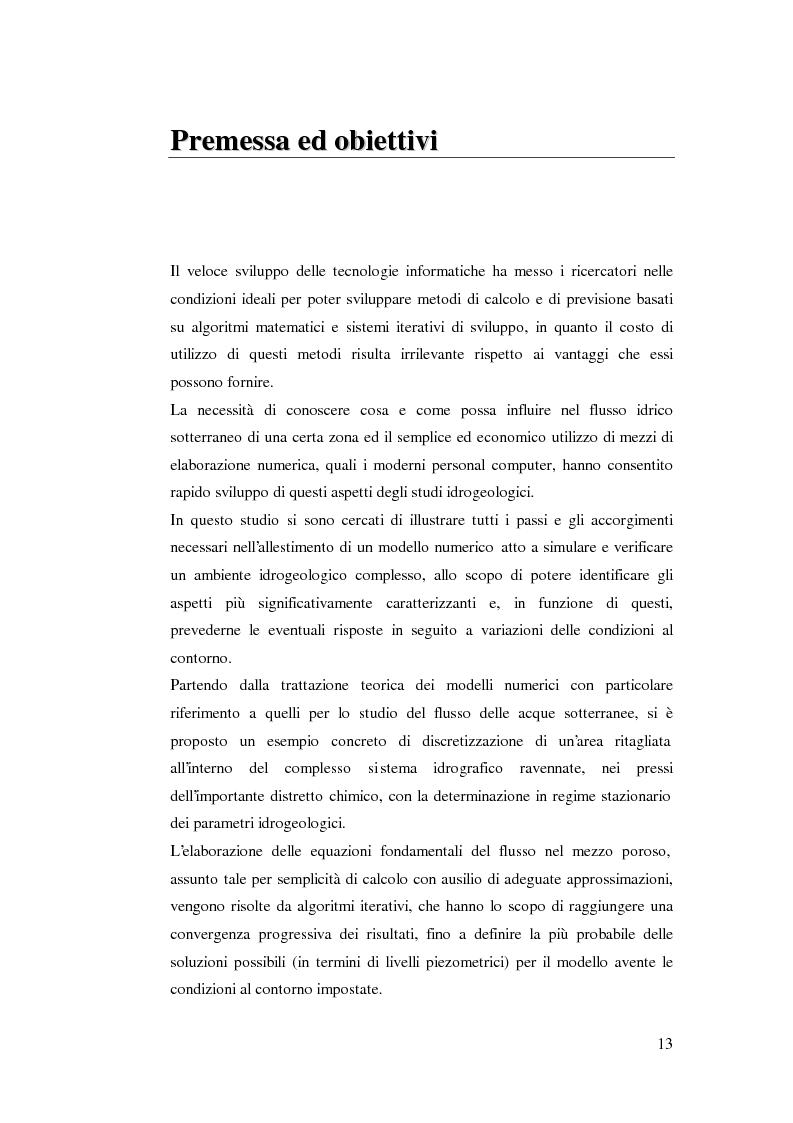 Anteprima della tesi: Modellazione del flusso idrico nel sottosuolo dell'area industriale ravennate, Pagina 1