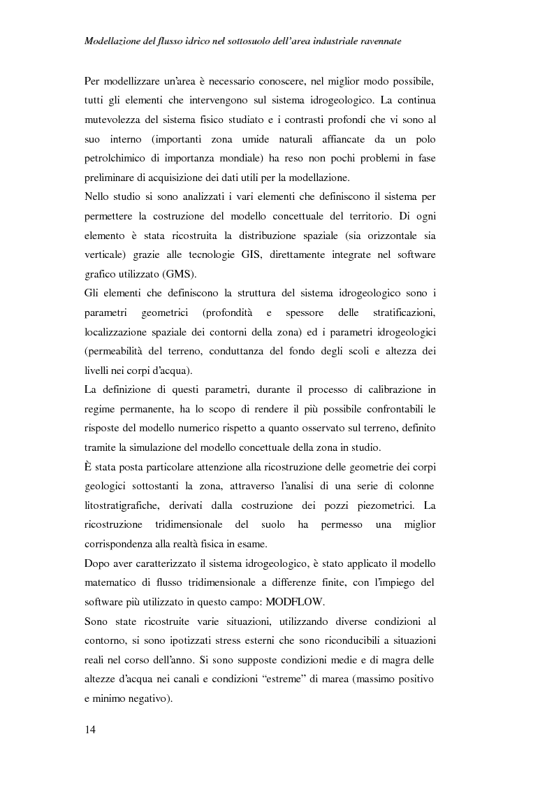 Anteprima della tesi: Modellazione del flusso idrico nel sottosuolo dell'area industriale ravennate, Pagina 2