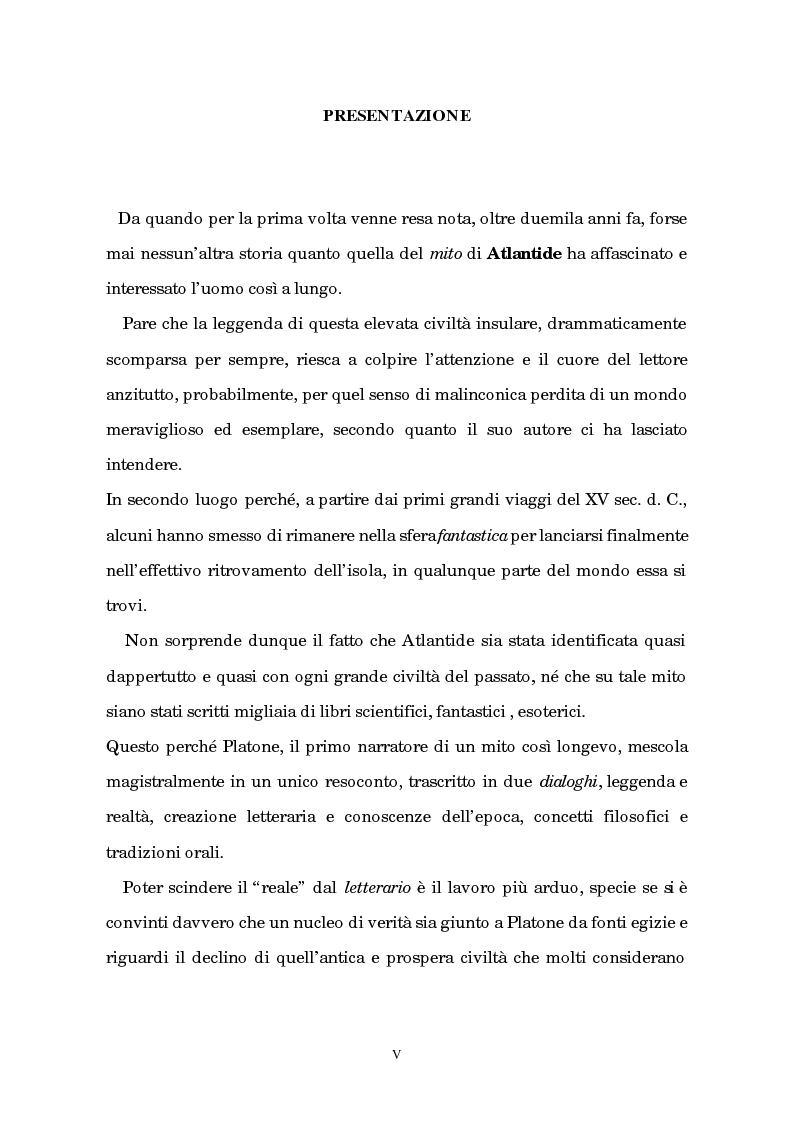 Anteprima della tesi: Atlantide tra mito e archeologia, Pagina 1