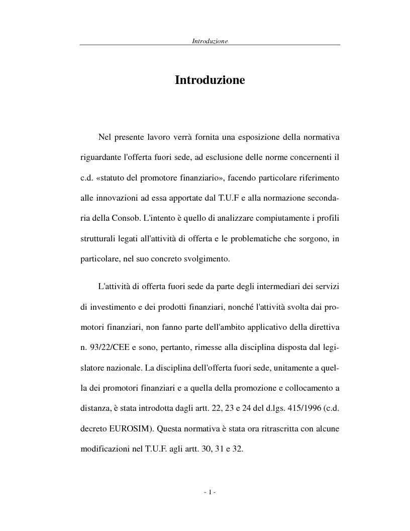 Anteprima della tesi: L'attività di offerta fuori sede e a distanza di servizi e strumenti finanziari, Pagina 1