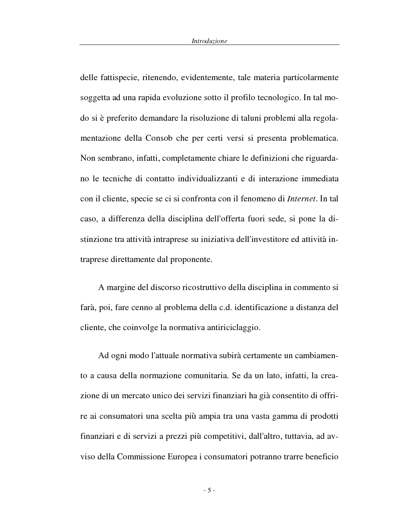 Anteprima della tesi: L'attività di offerta fuori sede e a distanza di servizi e strumenti finanziari, Pagina 5