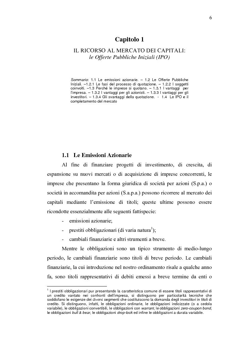 Anteprima della tesi: Initial Pubblic Offering: efficiente strumento di raccolta del risparmio o debacle dei risparmiatori?, Pagina 3