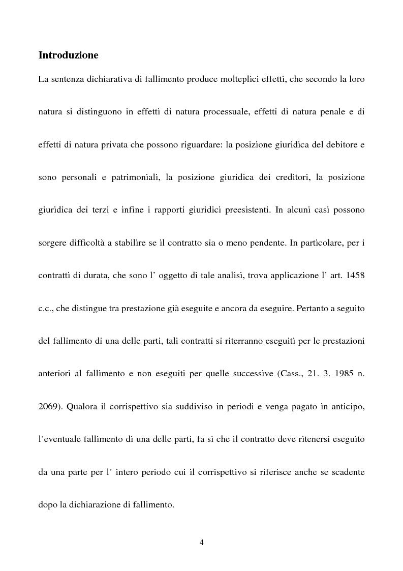 Anteprima della tesi: Gli effetti della sentenza dichiarativa di fallimento sui contratti di durata, Pagina 1