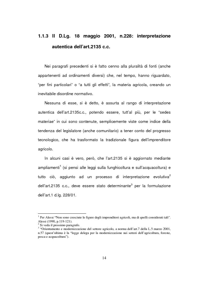 Anteprima della tesi: La delimitazione della fattispecie impresa agricola, Pagina 14