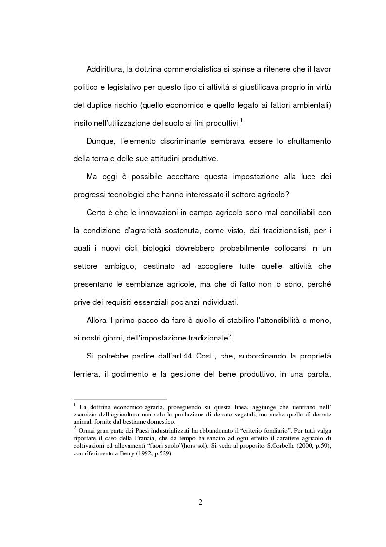 Anteprima della tesi: La delimitazione della fattispecie impresa agricola, Pagina 2