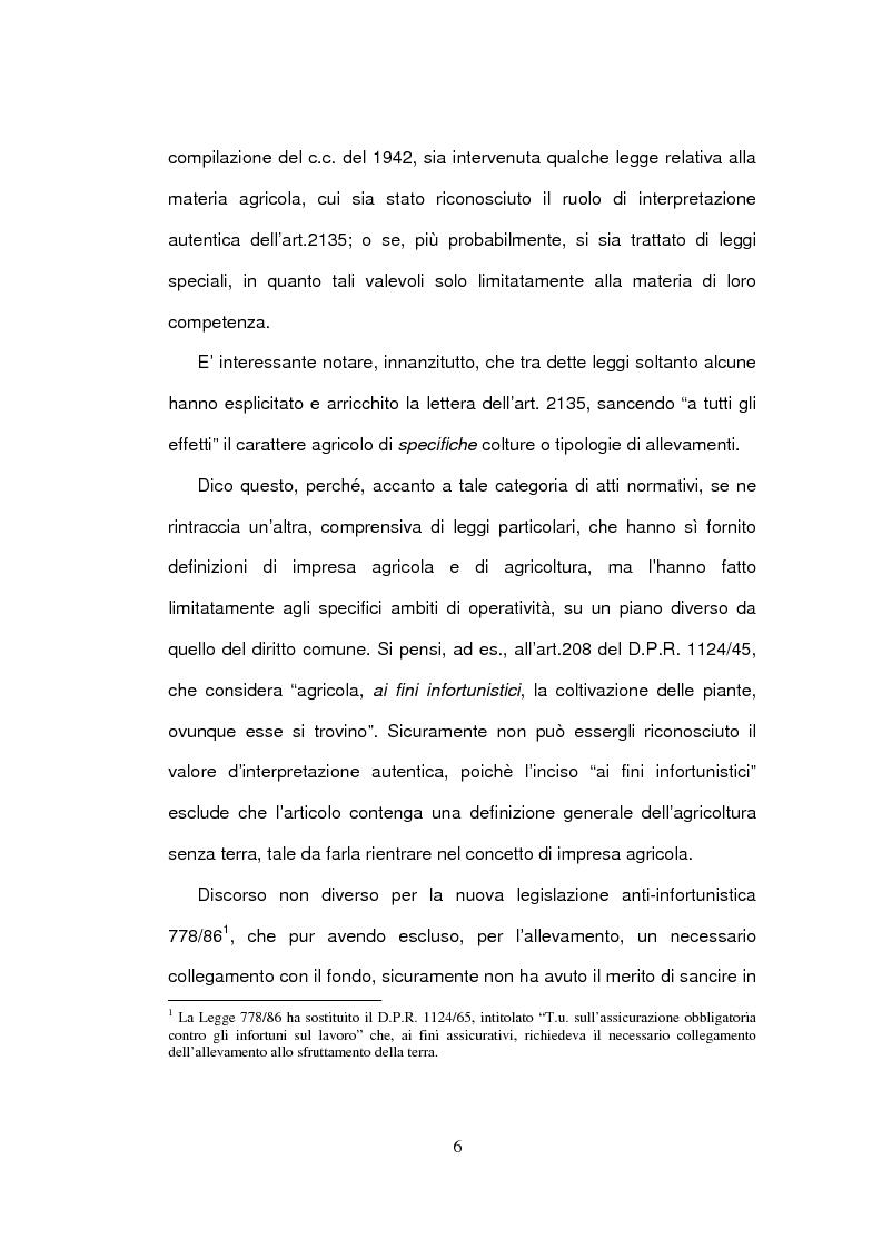 Anteprima della tesi: La delimitazione della fattispecie impresa agricola, Pagina 6