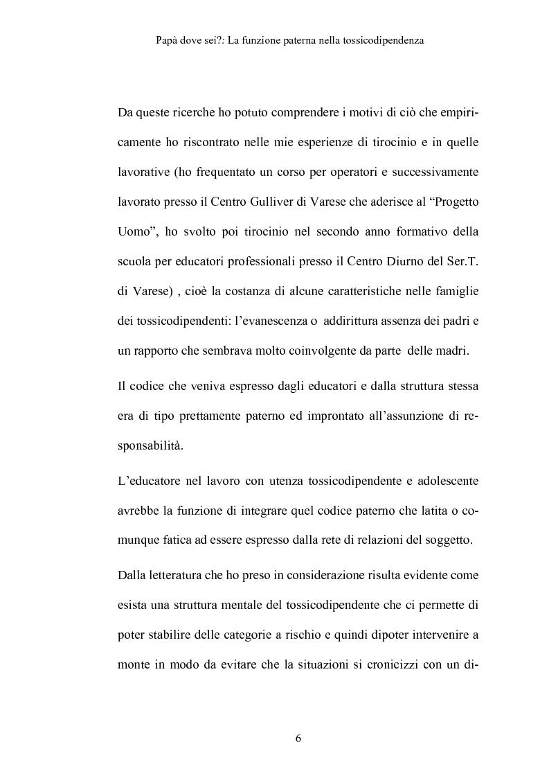 Anteprima della tesi: La funzione paterna nella tossicodipendenza, Pagina 3