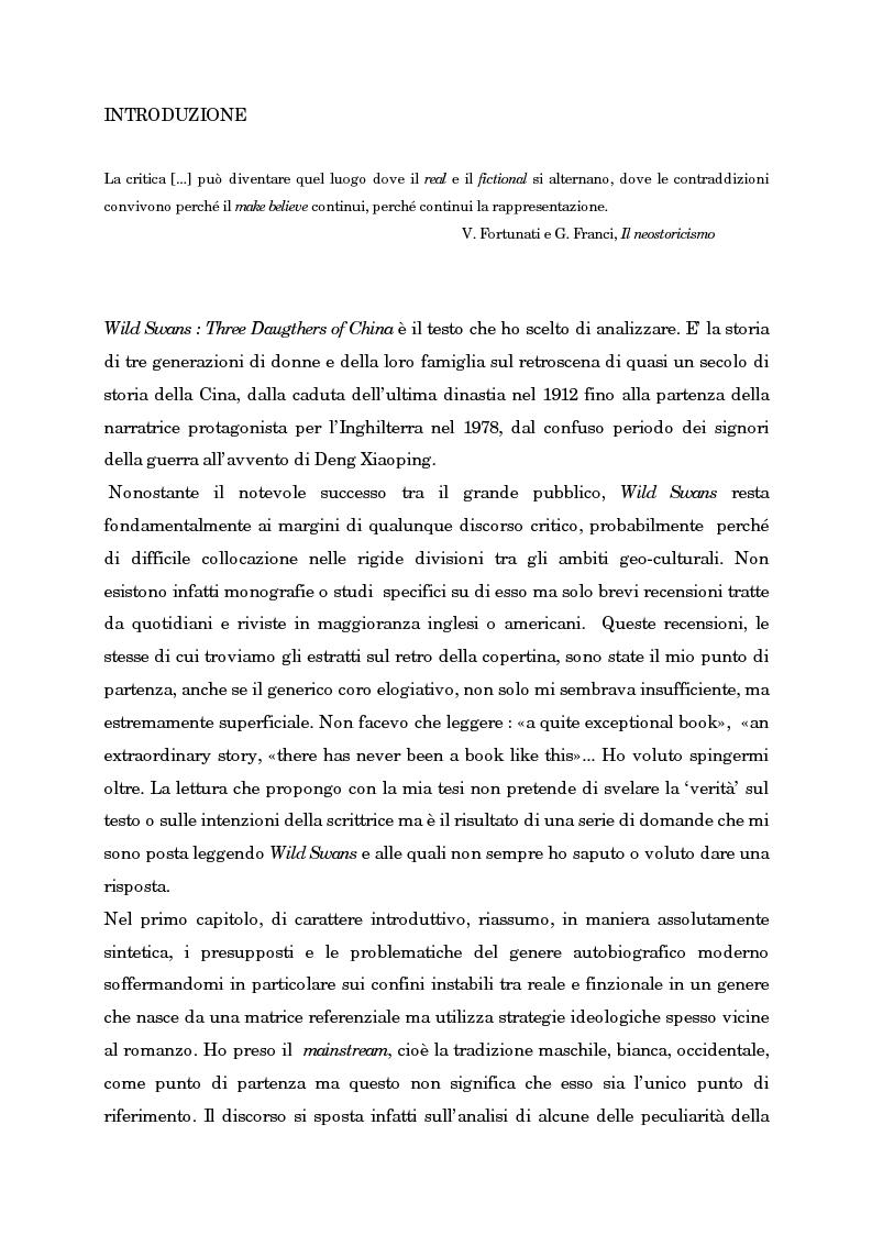 Anteprima della tesi: Wild Swans: storia, auto/biografia e identità femminile, Pagina 1