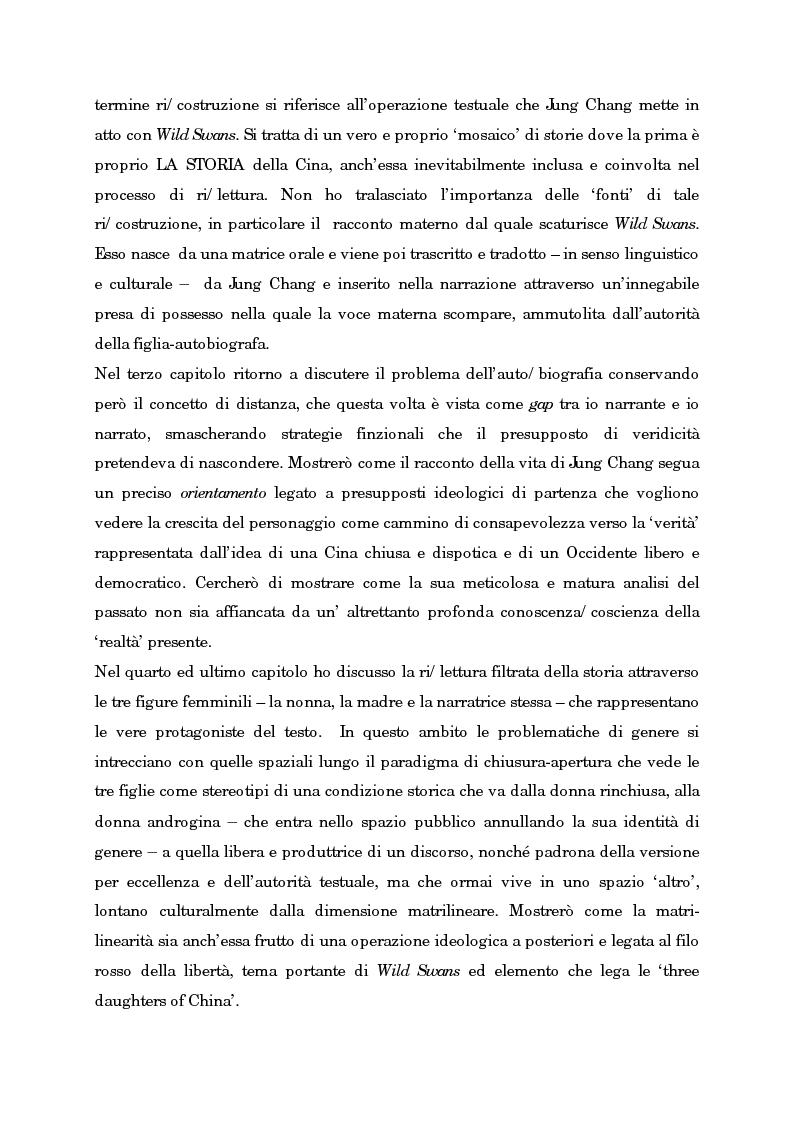 Anteprima della tesi: Wild Swans: storia, auto/biografia e identità femminile, Pagina 3