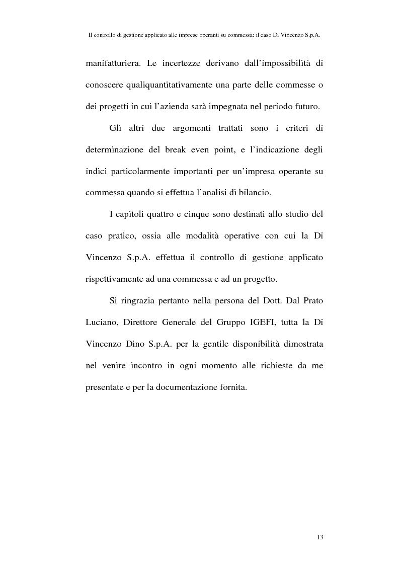 Anteprima della tesi: Il controllo di gestione applicato alle imprese operanti su commessa: il caso Di Vincenzo S.p.A., Pagina 12