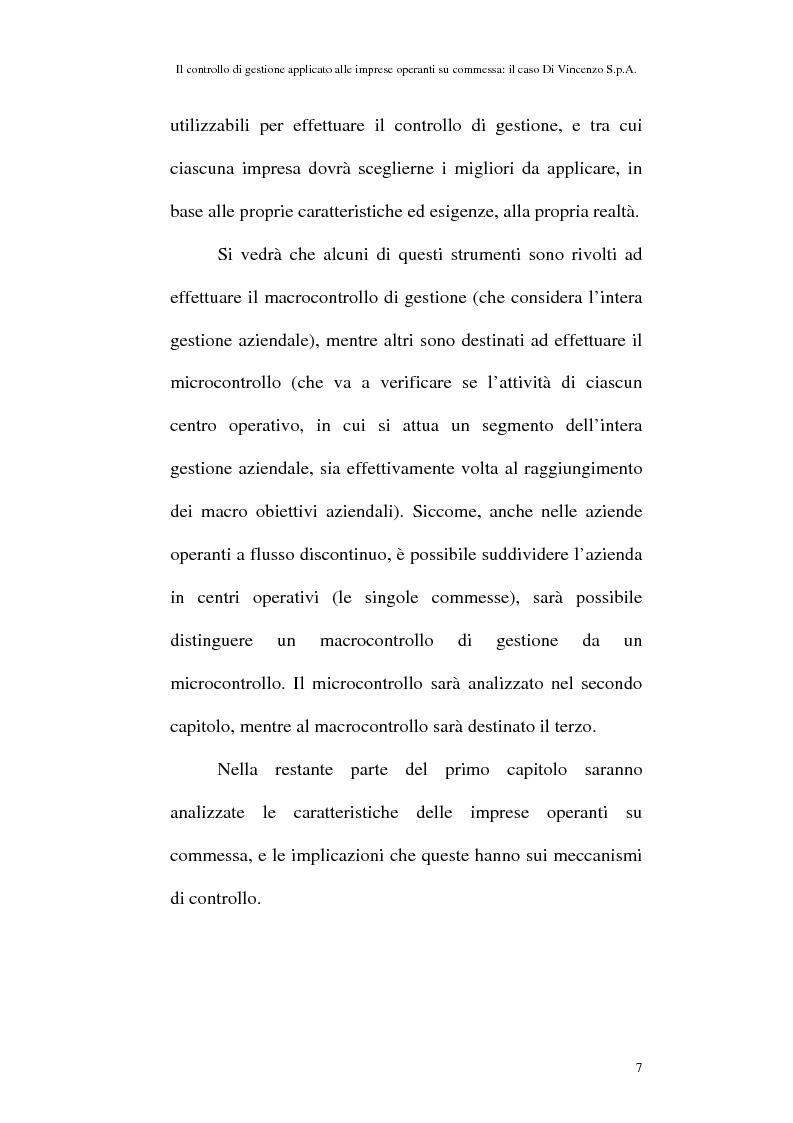 Anteprima della tesi: Il controllo di gestione applicato alle imprese operanti su commessa: il caso Di Vincenzo S.p.A., Pagina 6