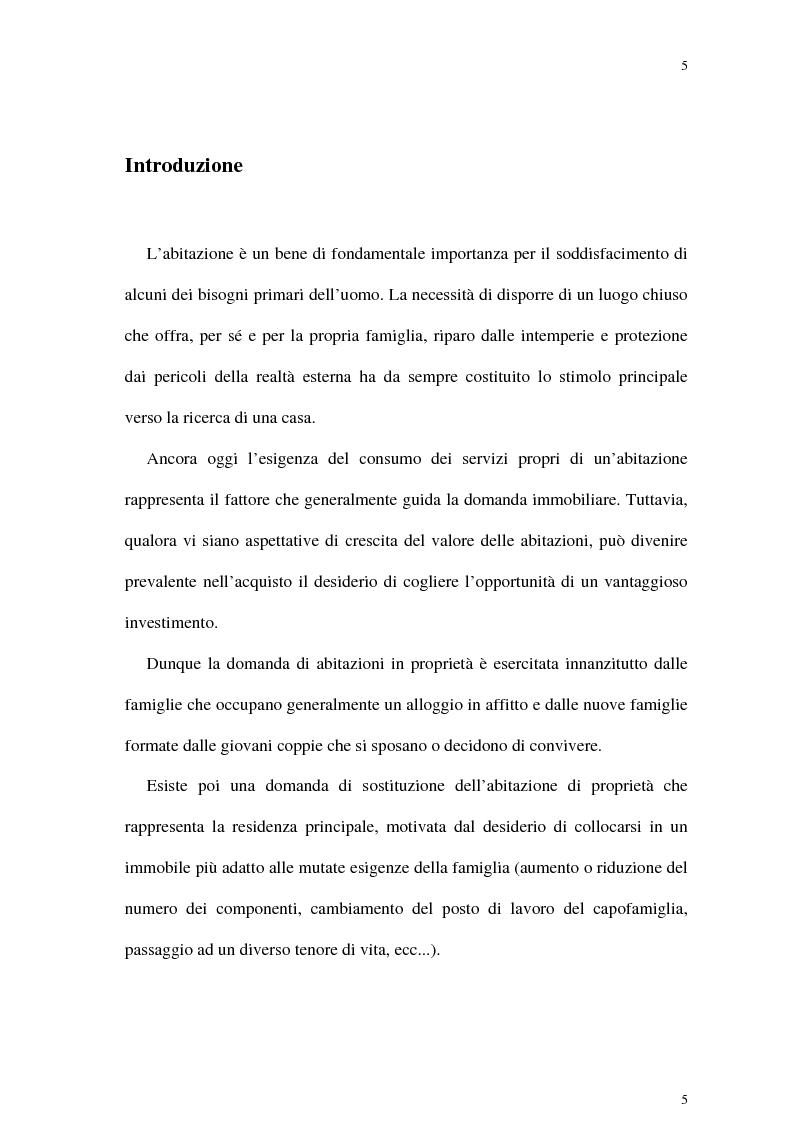 Anteprima della tesi: Il mercato delle abitazioni: modelli teorici ed un'applicazione econometrica sui prezzi in Italia, Pagina 1