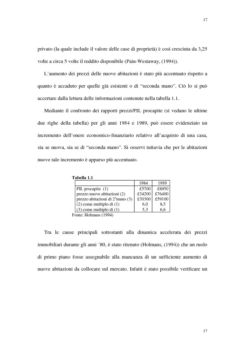 Anteprima della tesi: Il mercato delle abitazioni: modelli teorici ed un'applicazione econometrica sui prezzi in Italia, Pagina 13