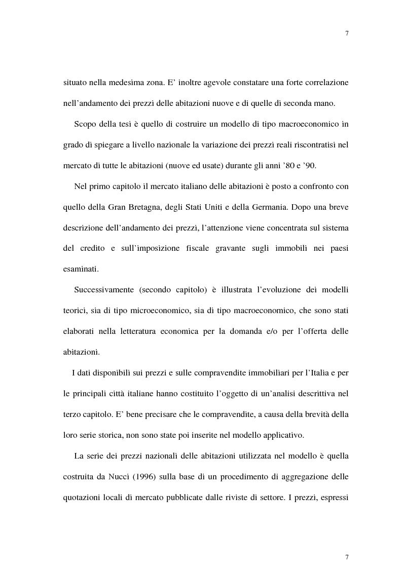 Anteprima della tesi: Il mercato delle abitazioni: modelli teorici ed un'applicazione econometrica sui prezzi in Italia, Pagina 3