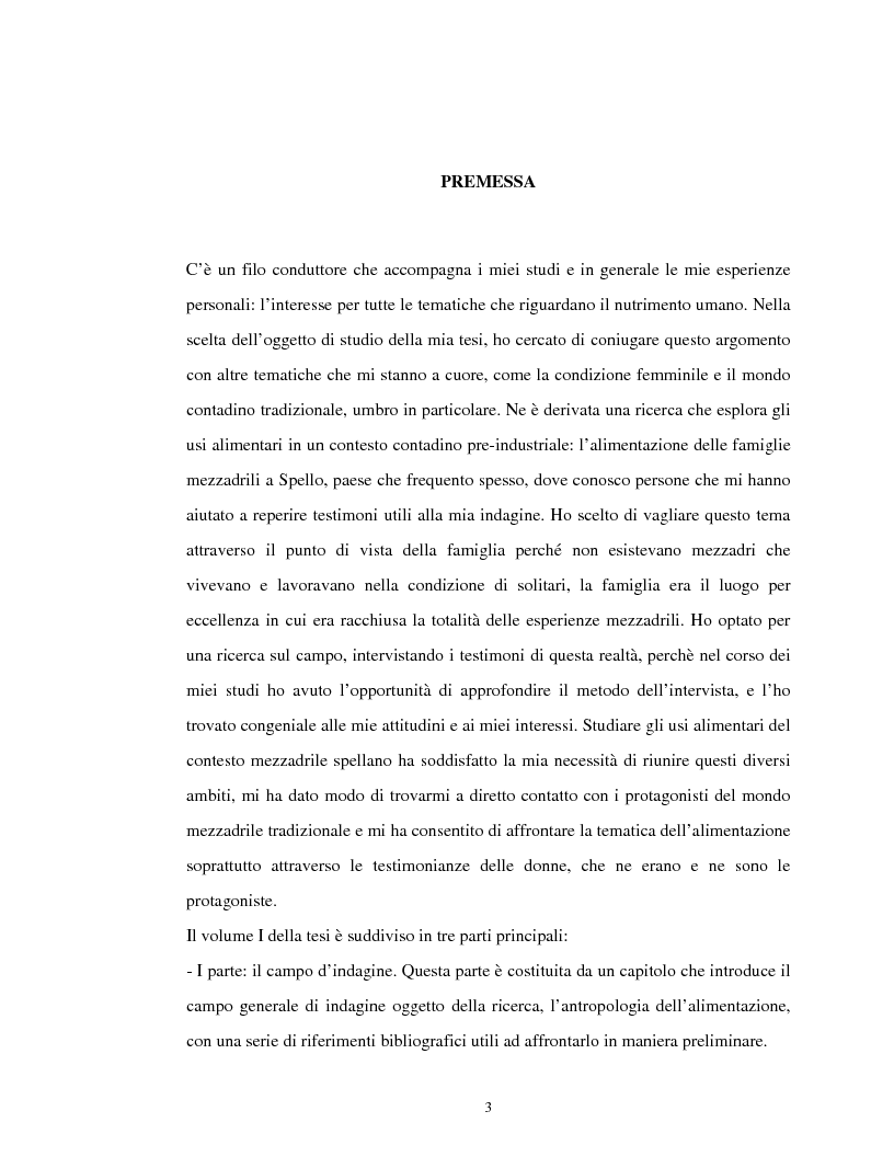 Anteprima della tesi: Usi alimentari in un contesto contadino tradizionale. L'alimentazione delle famiglie mezzadrili a Spello negli anni '50, Pagina 1