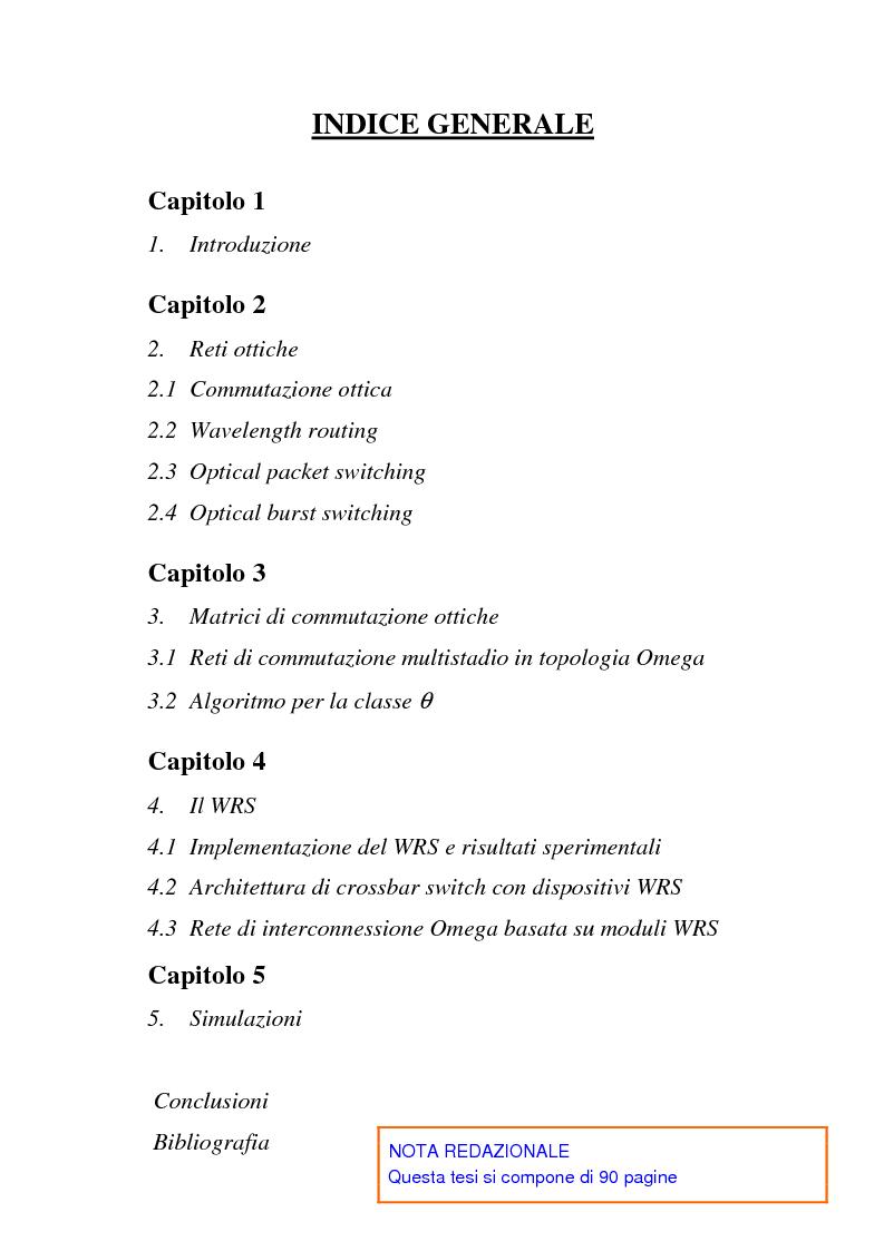 Indice della tesi: Architetture multistadio di commutazione ottica basate su dispositivi WRS, Pagina 1