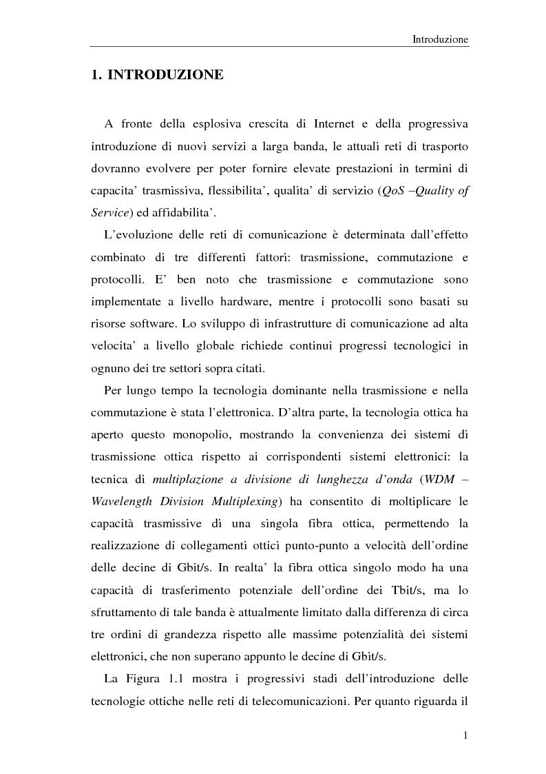 Anteprima della tesi: Architetture multistadio di commutazione ottica basate su dispositivi WRS, Pagina 1