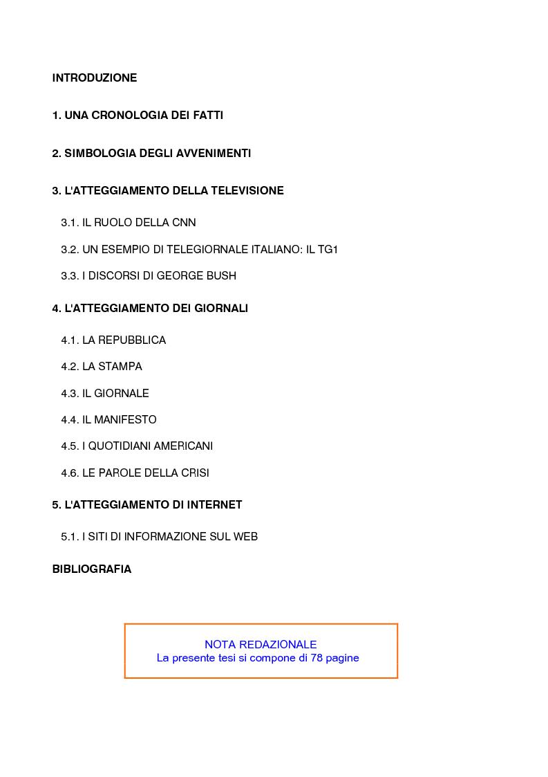 Indice della tesi: Gli attentati terroristici dell'11 settembre 2001 nei principali media, Pagina 1