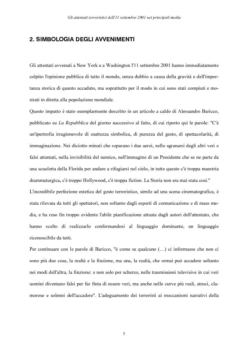 Anteprima della tesi: Gli attentati terroristici dell'11 settembre 2001 nei principali media, Pagina 5