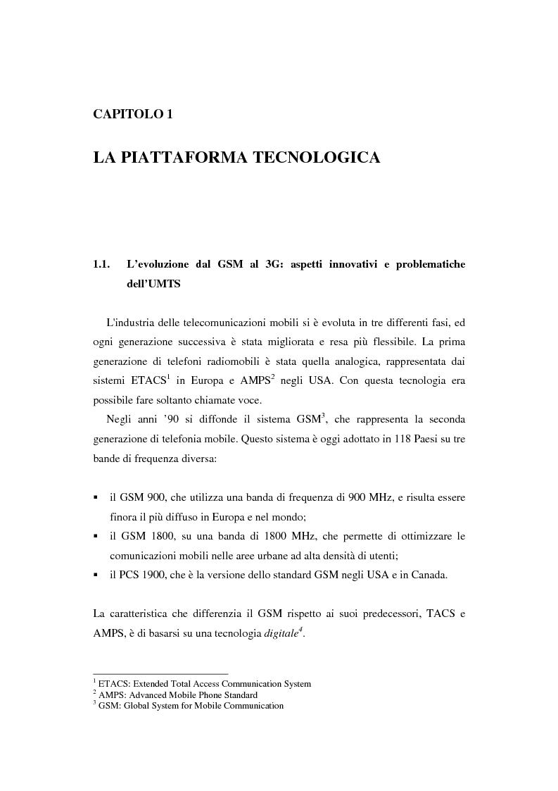 Anteprima della tesi: Le soluzioni organizzative adottate dagli operatori di telefonia mobile per lo sviluppo dell'Umts, Pagina 5