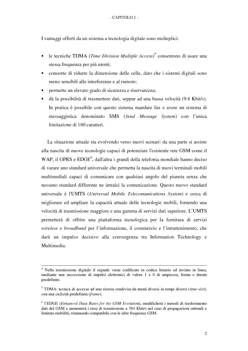 Anteprima della tesi: Le soluzioni organizzative adottate dagli operatori di telefonia mobile per lo sviluppo dell'Umts, Pagina 6