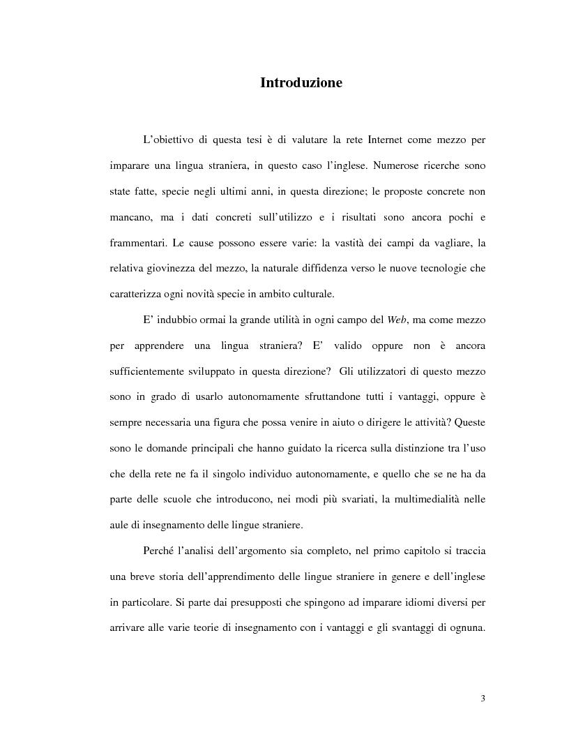 Anteprima della tesi: L'uso di Internet per l'apprendimento della lingua inglese, Pagina 1
