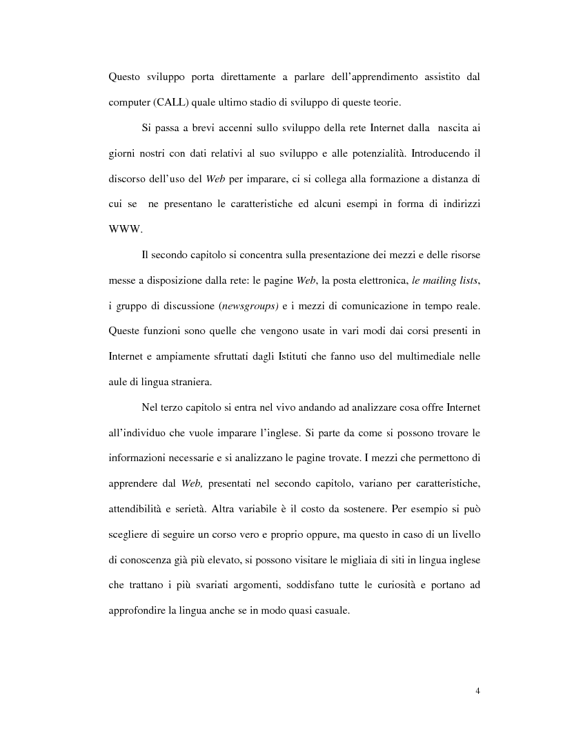 Anteprima della tesi: L'uso di Internet per l'apprendimento della lingua inglese, Pagina 2