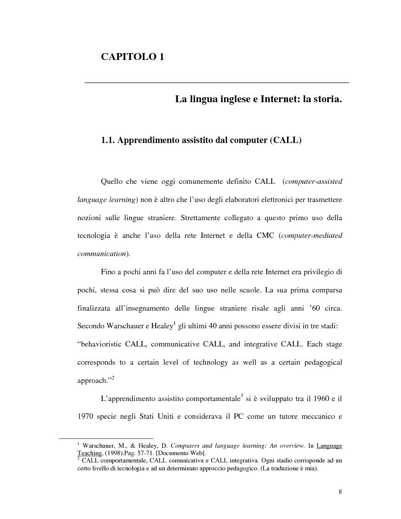 Anteprima della tesi: L'uso di Internet per l'apprendimento della lingua inglese, Pagina 6