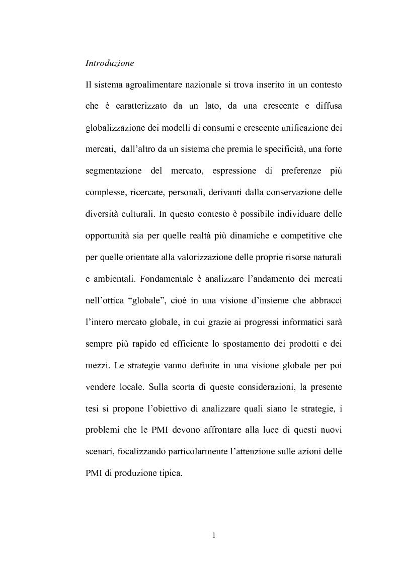 Anteprima della tesi: Le strategie di adattamento delle imprese locali di produzione tipica in relazione ai comportamenti di consumo, Pagina 1