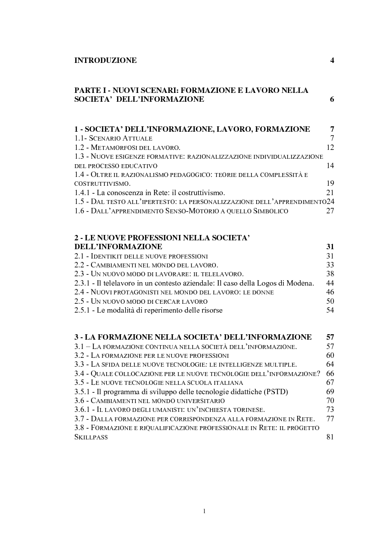 Indice della tesi: Tecnologie telematiche e riconversione professionale, Pagina 1