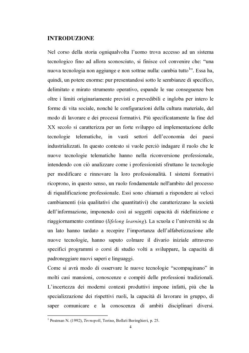 Anteprima della tesi: Tecnologie telematiche e riconversione professionale, Pagina 1