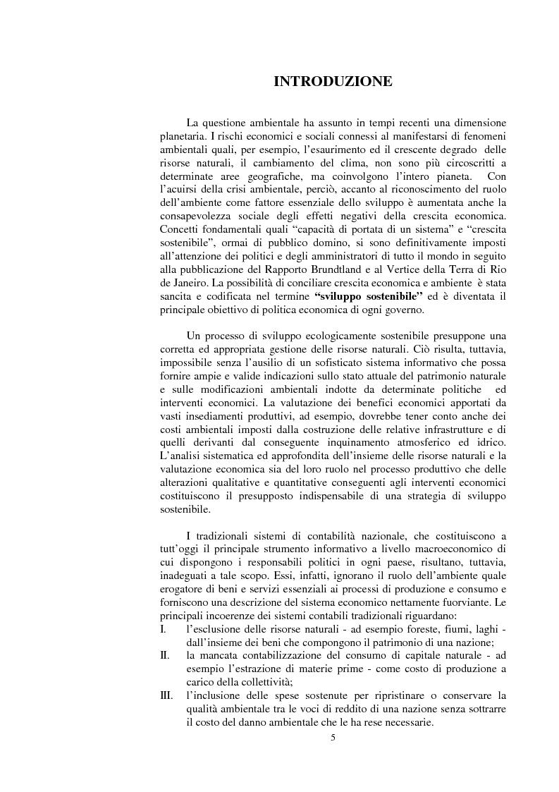La valutazione dei beni ambientali nella Contabilità Economica Nazionale - Tesi di Laurea