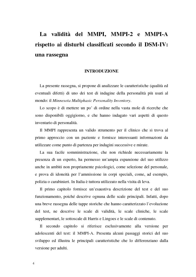 Anteprima della tesi: La validità del MMPI, MMPI-2 e MMPI-A rispetto ai disturbi classificati secondo il DSM-IV: una rassegna, Pagina 1