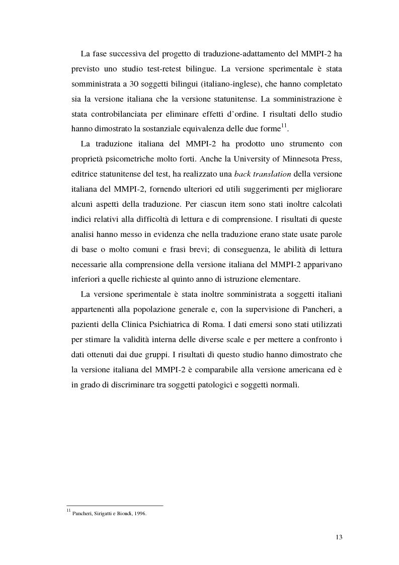 Anteprima della tesi: La validità del MMPI, MMPI-2 e MMPI-A rispetto ai disturbi classificati secondo il DSM-IV: una rassegna, Pagina 10