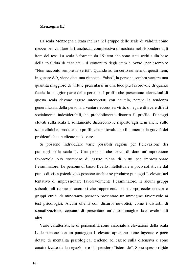 Anteprima della tesi: La validità del MMPI, MMPI-2 e MMPI-A rispetto ai disturbi classificati secondo il DSM-IV: una rassegna, Pagina 13
