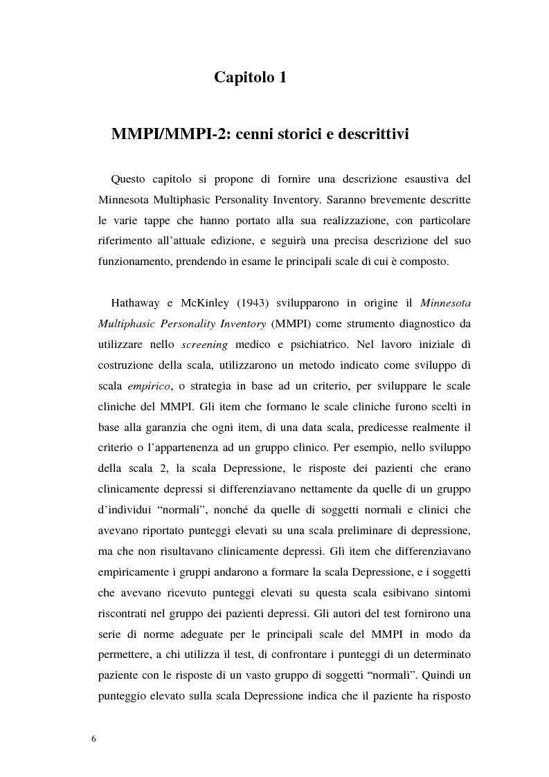 Anteprima della tesi: La validità del MMPI, MMPI-2 e MMPI-A rispetto ai disturbi classificati secondo il DSM-IV: una rassegna, Pagina 3