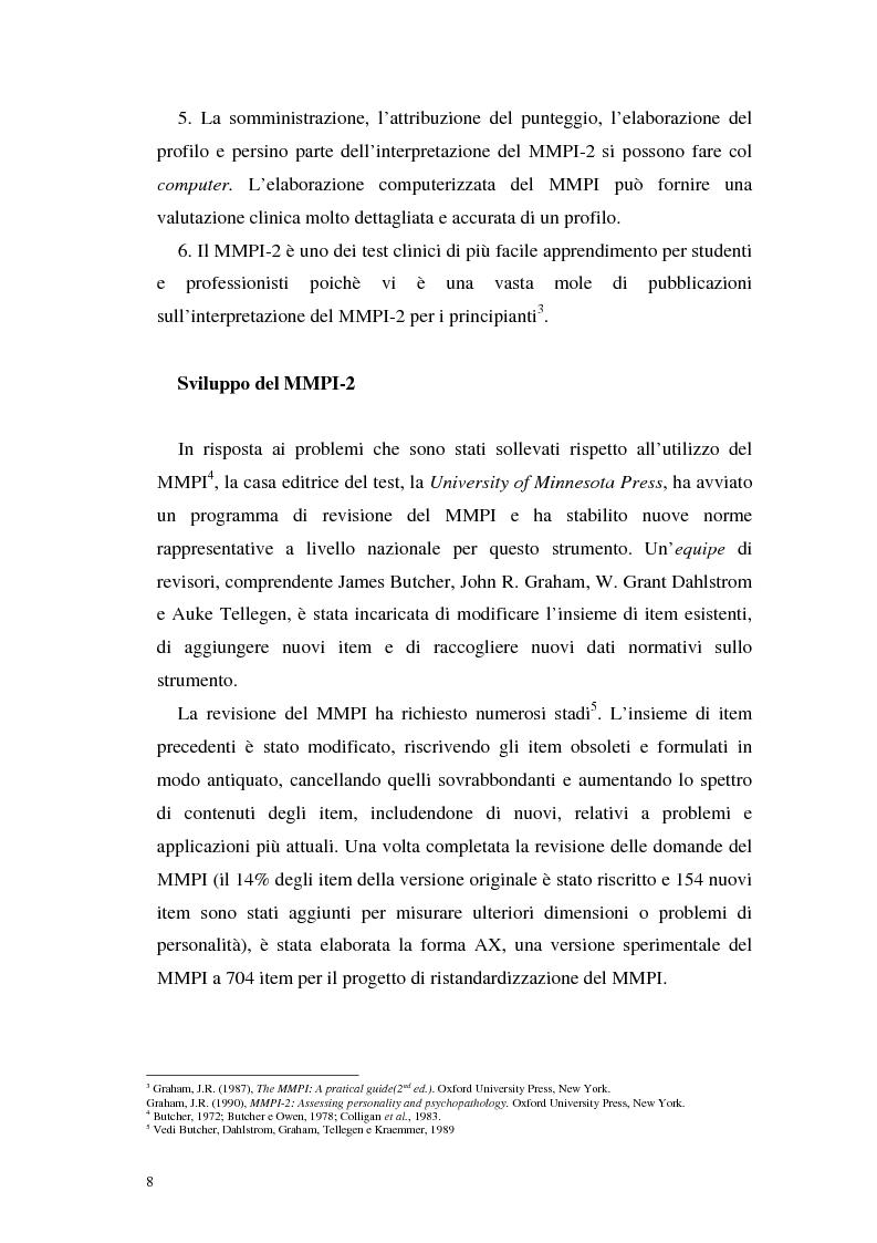 Anteprima della tesi: La validità del MMPI, MMPI-2 e MMPI-A rispetto ai disturbi classificati secondo il DSM-IV: una rassegna, Pagina 5