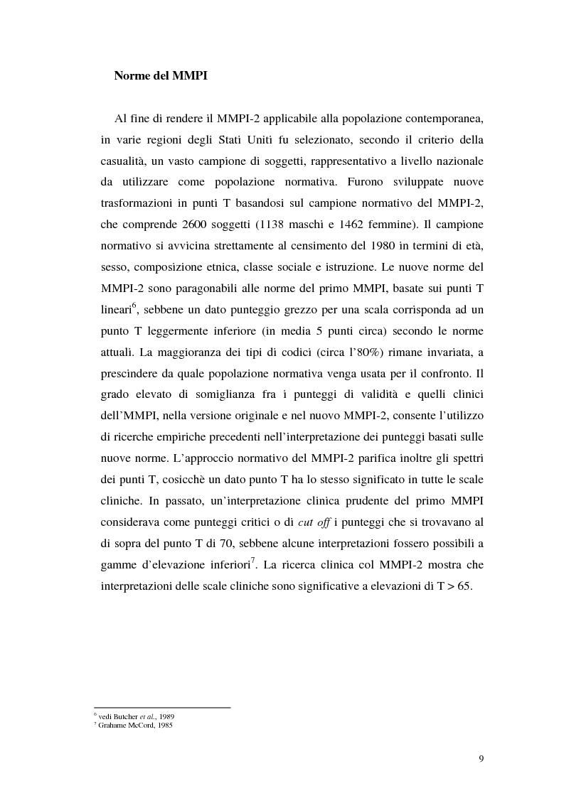 Anteprima della tesi: La validità del MMPI, MMPI-2 e MMPI-A rispetto ai disturbi classificati secondo il DSM-IV: una rassegna, Pagina 6